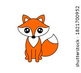 cute cartoon fox sitting.... | Shutterstock .eps vector #1821700952