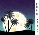 night panorama moon on the...   Shutterstock . vector #1821825278