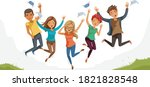 jumping student. teenagers... | Shutterstock .eps vector #1821828548