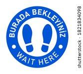 bilingual floor marking icon in ... | Shutterstock .eps vector #1821834098
