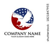 eagle in the circle logo...   Shutterstock .eps vector #1821847955