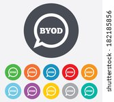 byod sign icon. bring your own... | Shutterstock . vector #182185856