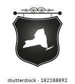 new york map on heraldic sign | Shutterstock .eps vector #182188892