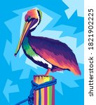 Colorful Pelican Pop Art Style...