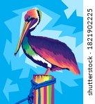 Colorful Pelican Pop Art Style...