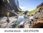 young woman hiking in tropical... | Shutterstock . vector #182194298