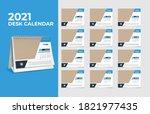 calendar 2021  set desk... | Shutterstock .eps vector #1821977435