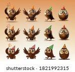 set of owls for happy birthday... | Shutterstock .eps vector #1821992315