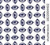 engraving eye. seamless pattern....   Shutterstock .eps vector #1822004402