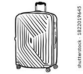 suitcase hand drawn vector... | Shutterstock .eps vector #1822019645