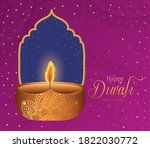 happy diwali candle with frame... | Shutterstock .eps vector #1822030772
