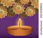 happy diwali candle and gold... | Shutterstock .eps vector #1822030832