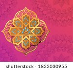 gold flower on pink with... | Shutterstock .eps vector #1822030955