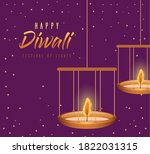 happy diwali hanging candles on ... | Shutterstock .eps vector #1822031315