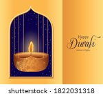happy diwali hanging candle in... | Shutterstock .eps vector #1822031318