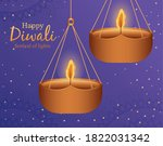 happy diwali hanging candles on ... | Shutterstock .eps vector #1822031342
