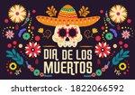day of the dead  dia de los... | Shutterstock .eps vector #1822066592