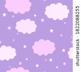 Pink Clouds And Stars On Lilac...