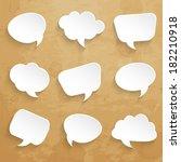 set of  speech bubbles on paper ... | Shutterstock .eps vector #182210918