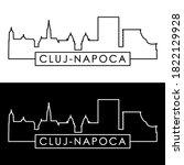 Cluj-Napoca skyline. Linear style. Editable vector file.
