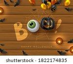 happy halloween banner with...   Shutterstock .eps vector #1822174835