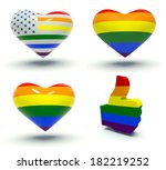 set of hearts and thumbs up... | Shutterstock . vector #182219252