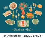 vector set of christmas meal.... | Shutterstock .eps vector #1822217525