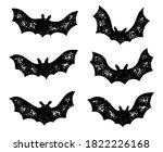 set of grunge flying bat... | Shutterstock .eps vector #1822226168