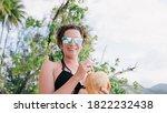 Stock Photo Of Cheerful Woman...