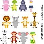 wild animal cartoon | Shutterstock .eps vector #182233862