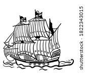 frigate sailing ship hand drawn ...   Shutterstock .eps vector #1822343015
