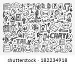 doodle communication background   Shutterstock .eps vector #182234918