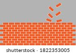 Red Brick Old Wall Vector...