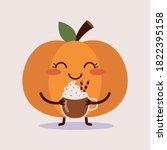 Cute Pumpkin Holding A Mug Of...