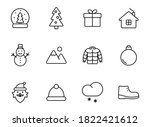 winter linear vector icons...
