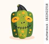 spooky green pumpkin in zombie...   Shutterstock .eps vector #1822422518