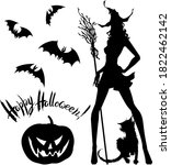 vector halloween set   black on ... | Shutterstock .eps vector #1822462142
