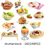 breakfast collage isolated on... | Shutterstock . vector #182248922