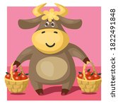 funny bull or cow  symbol of... | Shutterstock .eps vector #1822491848