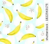 banana vector seamless pattern... | Shutterstock .eps vector #1822543175
