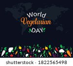 world vegetarian day. october 1....   Shutterstock .eps vector #1822565498