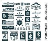 set of vector kayaking and...   Shutterstock .eps vector #1822582838