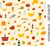 supermarket food items seamless ... | Shutterstock . vector #182260628