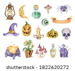 set of halloween elements.... | Shutterstock . vector #1822620272