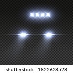 realistic car headlights. night ... | Shutterstock . vector #1822628528
