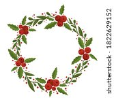 christmas floral wreath with... | Shutterstock .eps vector #1822629152