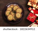 top view plate full of... | Shutterstock . vector #1822634912