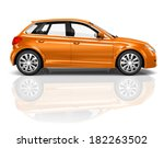 Stock photo  d orange hatchback car 182263502