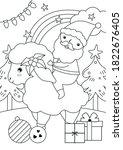 santa riding sheep illustration ... | Shutterstock .eps vector #1822676405