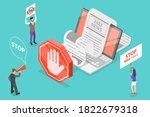 stop fake news. 3d isometric... | Shutterstock .eps vector #1822679318
